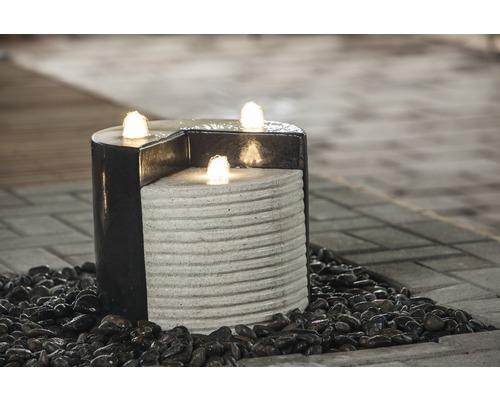 Fountain-Set Heissner LED Ø 27 cm schwarz-creme