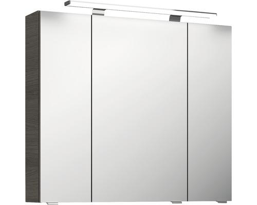 Spiegelschrank Pelipal Jetline 4010 80x70,3x17 cm 3-türig Graphit Struktur quer