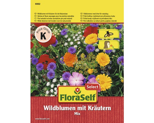 Blumenwiesensamen FloraSelf Wildblumen mit Kräutern für Naturwiese