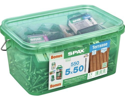 Spax Terrassenschraube, Zylinderkopf T25, Fixiergewinde, 5x50 mm, 550 Stück
