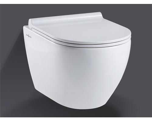 Wandtiefspülklosett-Set Jungborn Donella spülrandloses Abgang waagrecht weiß mit WC-Sitz