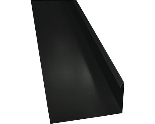 PRECIT Winkelblech mit Wasserfalz jet black RAL 9005 1 m
