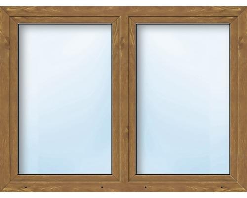 Kunststofffenster 2.Flg.mit Stulppfosten ESG ARON Basic weiß/golden oak 1250x1400 mm