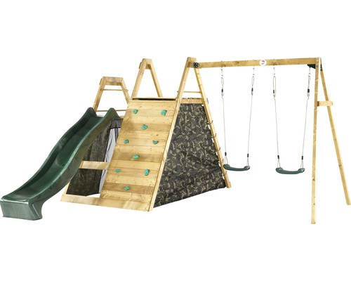 Doppelschaukel PLUM® Holz Pyramide mit Kletternetz, Kletterwand und Rutsche grün