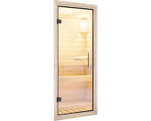 Sauna Türelement Karibu für38/40 mm Saunen mit Ganzglastüre aus Klarglas 175x65,6x0,8 cm