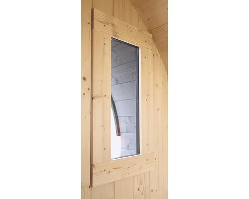 Saunafenster Karibu für Fasssauna aus Klarglas 25x60x4,2 cm