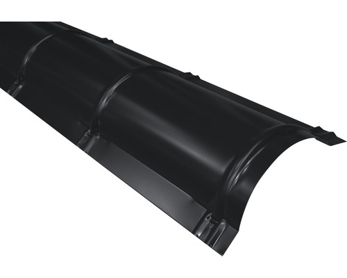 PRECIT Firstblech halbrund Big Stone jet black RAL 9005 1000 x 280 mm