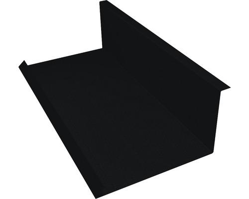 PRECIT Wandanschlußblech für Metallziegel Big Stone jet black RAL 9005 2000 x 100 x 115 mm