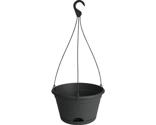 Blumenampel-Set elho Green Basics Kunststoff Ø 28 H 18 cm schwarz inkl. Halterung