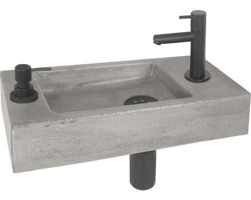Handwaschbecken-Set Jax 42x18,5 cm Beton inkl. Ablaufventil,Designsiphon,Standventil schwarz matt