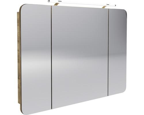 LED-Spiegelschrank Fackelmann Milano 110x78x15,5 cm 3-türig asteiche
