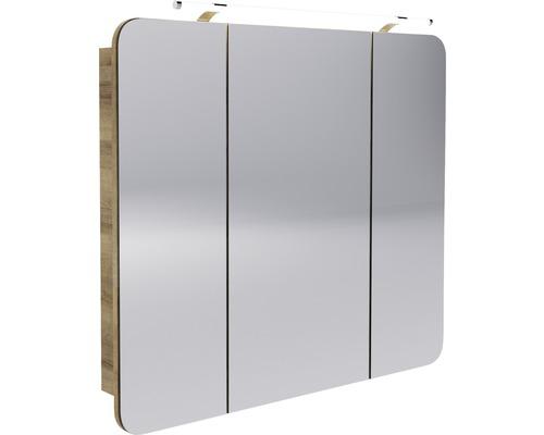 LED-Spiegelschrank Fackelmann Milano 90x78x15,5 cm 3-türig asteiche