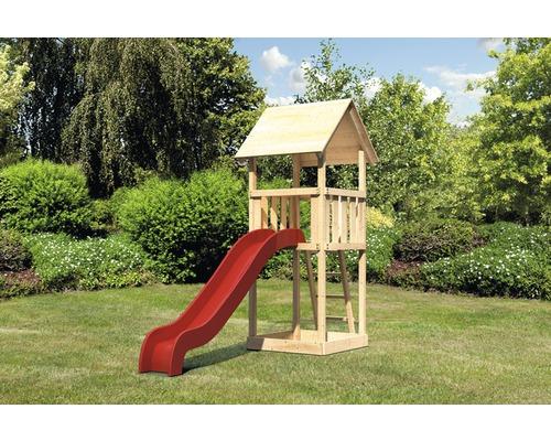 Spielturm AKUBI Lotti Holz mit Sandkasten und Rutsche rot
