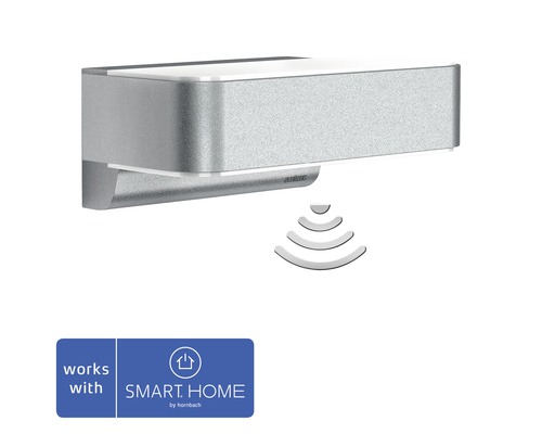 Steinel LED Sensor Wandleuchte 12,5W 612 lm 3000 K warmweiß HxBxT 88x230x145 mm L 810 LED iHF Up-/Downlignt Z Wave Smart Friends silber