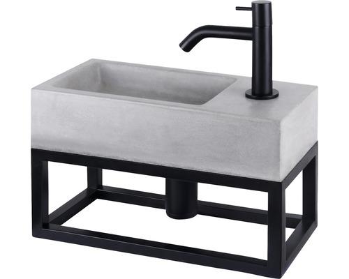 Handwaschbecken-Set Jukon 18,5x38,5 cm Beton inkl. Ablaufventil,Designsiphon,Standventil schwarz matt