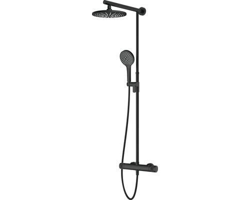 Duschsystem Avital Topino mit Thermostat schwarz matt
