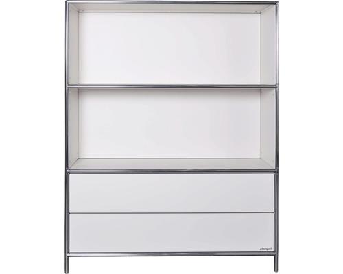 Schranksystem Stengel 102x130x42 cm 2 Schubladen 2 Fächer offen weiß