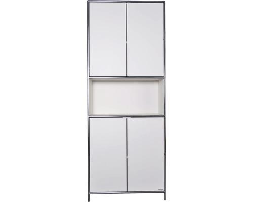 Schranksystem Stengel 82x210x42 cm 4 Türen 2 Fachböden 1 Fach offen weiß