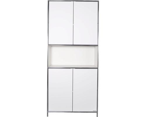 Schranksystem Stengel 92x210x42 cm 4 Türen 2 Fachböden 1 Fach offen weiß