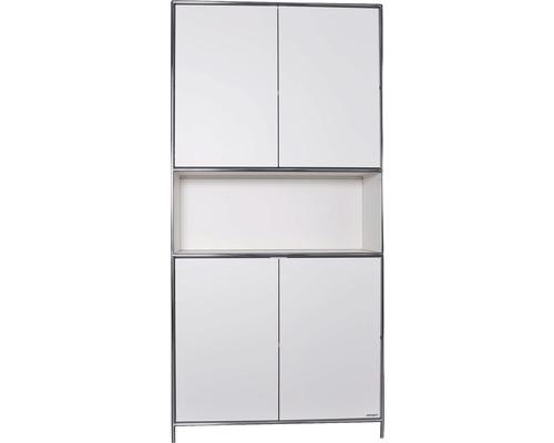 Schranksystem Stengel 102x210x42 cm 4 Türen 2 Fachböden 1 Fach offen weiß