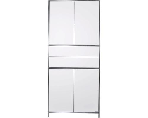 Schranksystem Stengel 92x210x42 cm 4 Türen 2 Fachböden 2 Schubladen weiß