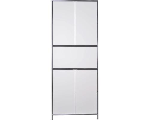 Schranksystem Stengel 82x210x42 cm 4 Türen 2 Fachböden 1 große Schubladen weiß