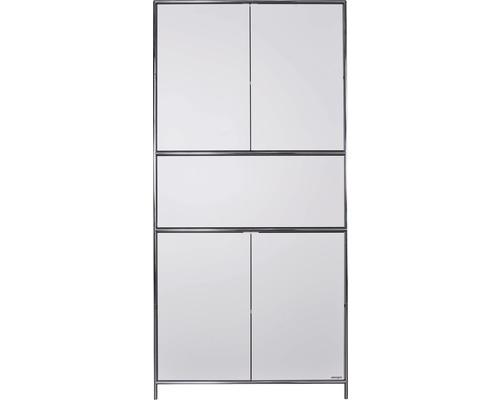 Schranksystem Stengel 102x210x42 cm 4 Türen 2 Fachböden 1 große Schubladen weiß