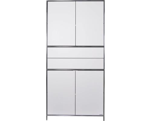 Schranksystem Stengel 102x210x42 cm 4 Türen 2 Fachböden 2 Schubladen weiß