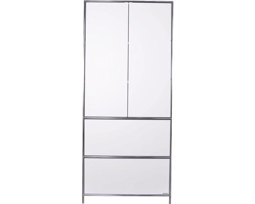 Schranksystem Stengel 92x210x42 cm 2 Türen 2 Fachböden 2 große Schubladen weiß