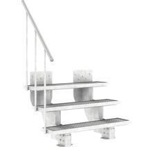 Außentreppe Pertura Petros mit Geländer 3 Stufen 120 cm Gitterrost