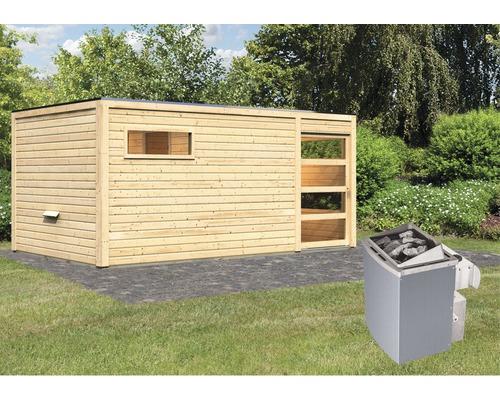 Saunahaus Karibu Zirkon 2 inkl.9 kW Ofen u.integr.Steuerung mit Vorraum und Holztüre mit Klarglas
