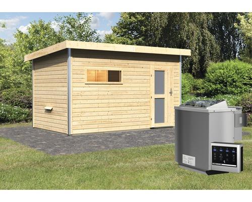 Saunahaus Karibu Topas 3 ink.9 kW Bio Ofen u.ext.Steuerung mit Vorraum und Holztür mit Milchglas