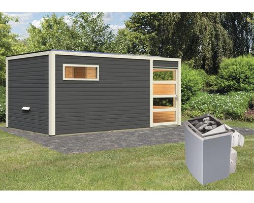 Saunahaus Karibu Zirkon 2 inkl.9 kW Ofen u.integr.Steuerung mit Vorraum und Holztüre mit Klarglas anthrazit/weiß