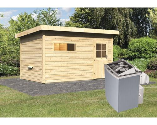 Saunahaus Woodfeeling Aplit 3 inkl.9 kW Ofen u.integr.Steuerung mit Vorraum und Holztüre mit Isolierglas wärmegedämmt