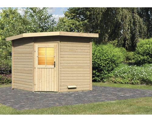 Saunahaus Woodfeeling Onyx 3 ohne Ofen und Vorraum mit Holztüre und Isolierglas wärmegedämmt
