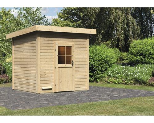 Saunahaus Woodfeeling Turmalin 3 ohne Ofen und Vorraum mit Holztüre und Isolierglas wärmegedämmt