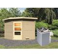 Saunahaus Karibu Rubin 3 inkl.9 kW Ofen u.integr.Steuerung mit Holztüre und Klarglas