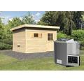 Saunahaus Woodfeeling Aplit 2 inkl.9 kW Bio Ofen u.ext.Steuerung mit Vorraum und Holztüre mit Isolierglas wärmegedämmt