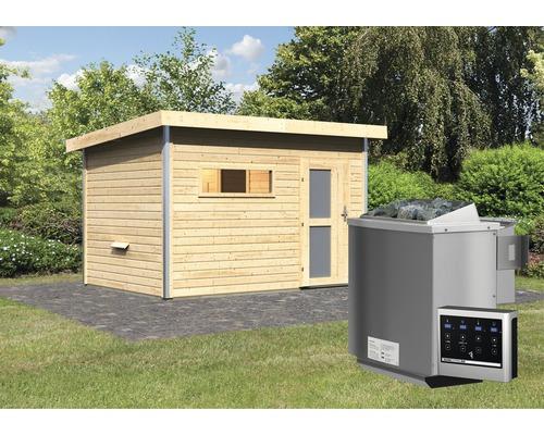 Saunahaus Karibu Topas 2 inkl.9 kW Bio Ofen u.ext.Steuerung mit Holztüre und Milchglas