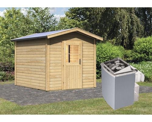 Saunahaus Woodfeeling Rhodonit 1 inkl.9 kW Ofen u.integr.Steuerung mit Vorraum und Holztüre mit Isolierglas wärmegedämmt