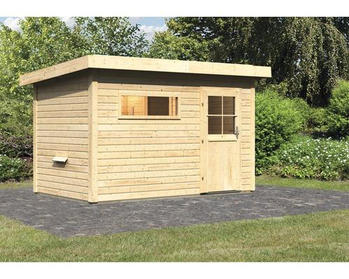 Saunahaus Woodfeeling Aplit 1 ohne Ofen mit Vorraum und Fenster mit Holztüre und Isolierglas wärmegedämmt