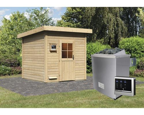 Saunahaus Woodfeeling Tumalin 4 inkl.9 kW Ofen u.ext.Steuerung ohne Vorraum mit Holztüre und Isolierglas wärmegedämmt
