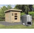 Saunahaus Karibu Opal 5 inkl.9 kW Bio Ofen u.ext.Steuerung mit Holztüre und Klarglas