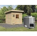 Saunahaus Woodfeeling Tumalin 4 inkl.9 kW Bio Ofen u.ext.Steuerung ohne Vorraum mit Holztüre und Isolierglas wärmegedämmt