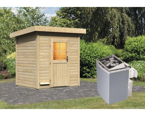 Saunahaus Woodfeeling Turmalin 1 inkl. 9 kW Ofen u.integr.Steuerung ohne Vorraum mit Holztüre und Isolierglas wärmegedämmt