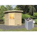 Saunahaus Woodfeeling Onyx inkl.9 kW Ofen u.integr.Steuerung ohne Vorraum mit Holztüre und Isolierglas wärmegedämmt