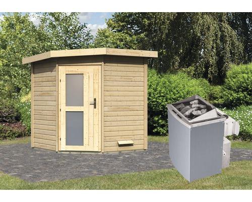 Saunahaus Karibu Rubin 1 inkl.9 kW Ofen u.integr.Steuerung mit Holztüre und Milchglas