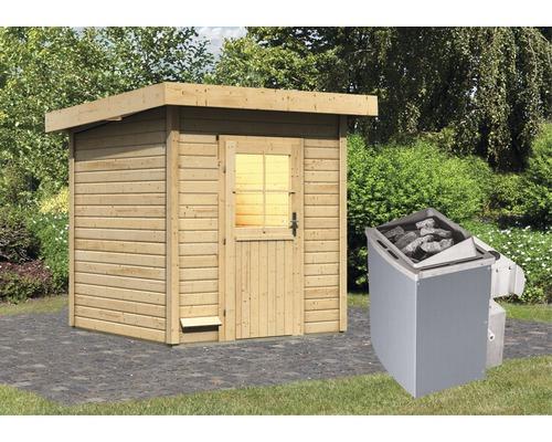 Saunahaus Woodfeeling Tumalin 2 inkl. 9 kW Ofen u.integr.Steuerung ohne Voraum mit Holztüre und Isolierglas wärmegedämmt