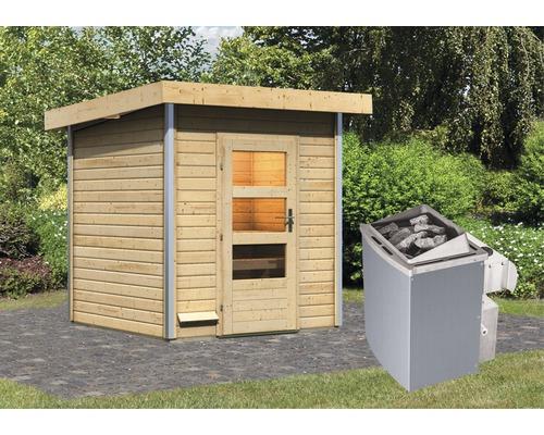 Saunahaus Karibu Opal 2 inkl.9 kW Ofen u.integr.Steuerung mit Holztüre und Klarglas