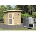 Saunahaus Karibu Rubin 1 inkl.9 kW Bio Ofen u.ext.Steuerung mit Holztüre und Milchglas